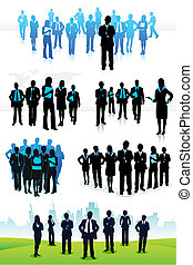 illustration of set of business people on isolated background