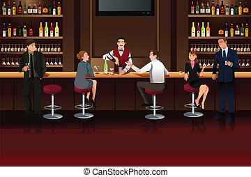 A vector illustration of Business people hanging out in a bar after work