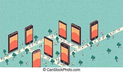 city with smart phones