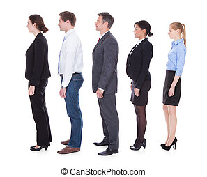 Business People  In A Line