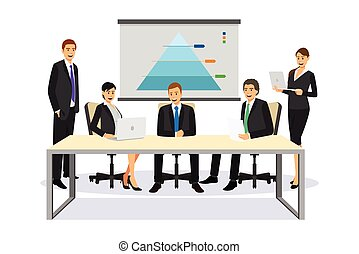Business People in a Meeting Illustration