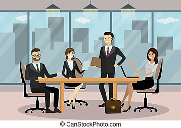 Business people in Cartoon Modern office