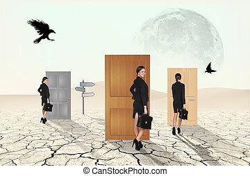 Business people in desert