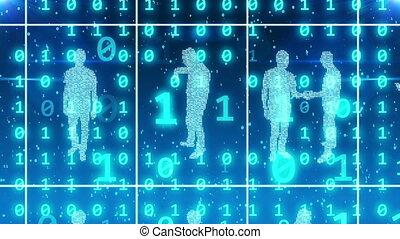 Business people in digital option in cyberspace - 3D...