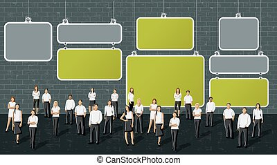 business people in front of wall
