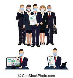business people in medical masks