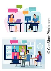 business people in meeting online reunion