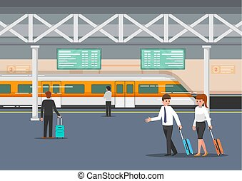 Business people in modern train station platform