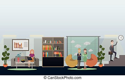 Business people in office concept flat vector illustration