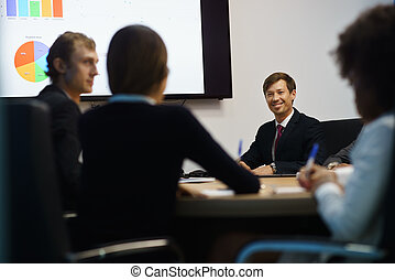 Business People In Office Meeting Room With Charts On TV