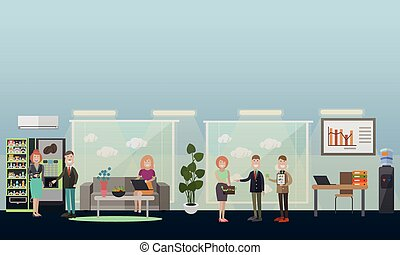 Business people in office vector flat illustration