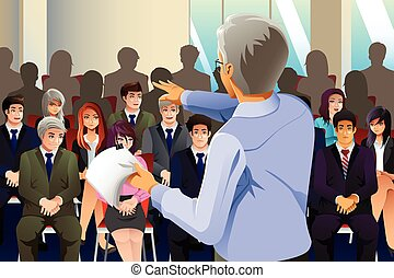 A vector illustration of business people attending seminar