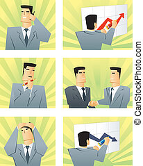 Business people in the different situations