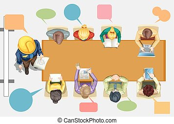 Business people in the meeting room illustration