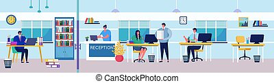Business people in working process activity vector illustration, cartoon flat man woman employee, boss character planning, solving work task