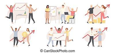 Business people increase financial chart. Investment, financial teamwork success. Growth presentation, arrow graph upward vector concept