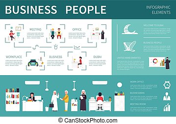 Business people infographic flat vector illustration. Presentation Concept