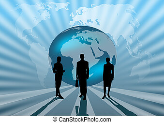 business people international on blue globe illustration