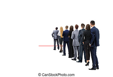business people isolated on white - Waiting for their Turn...