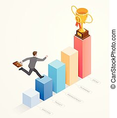 Business people isometric concept design. Businessman running with work bag on bar chart infographics.