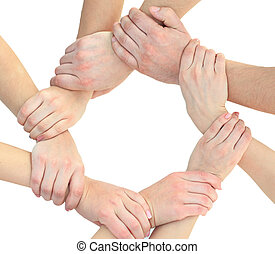 Business people joining hands in a circle in the office -...