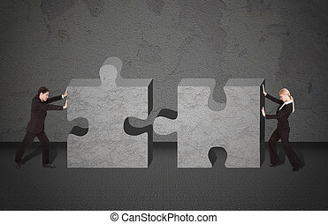 Business People Joining Puzzle Pieces