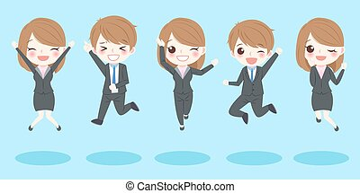 business people jump and smile
