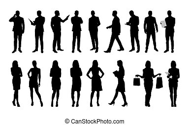 Business people, large set of vector silhouettes of men and ...