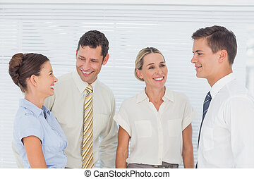 Business people laughing together