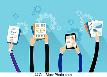business people long hands with financial paper documents flat design