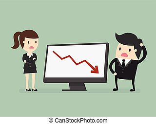 results chart - Business people looking at a bad results ...