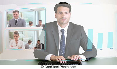 Business people looking at a futuri - Animation of business...