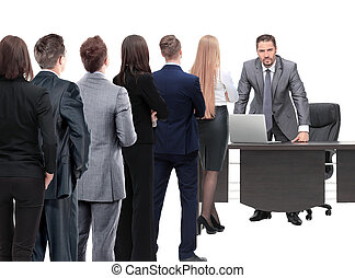 Business people looking at boss standing back side - Waiting...