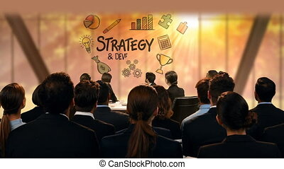 Business people looking at strategy icons