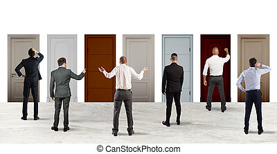Business people looking to select the right door. Concept of confusion and competition