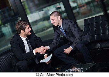 business people making deal