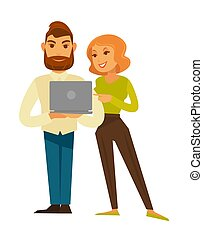Business people man and woman in casual with vector laptop computer