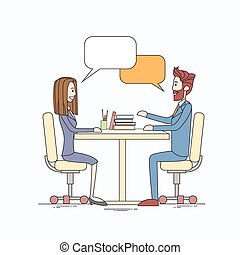 Business People Man and Woman Talking Discussing Communication Sitting at Office Desk Bubble Chat Box