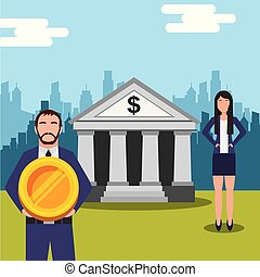 business people man holding coin and woman near bank