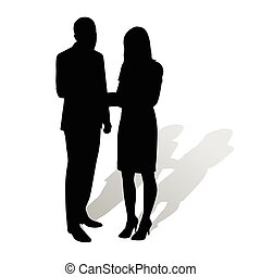 Business people. Man talking to woman. Vector silhouettes with shadow. Businessmen in formal wear. Man in suit, woman wearing stilettos high heels and skirt