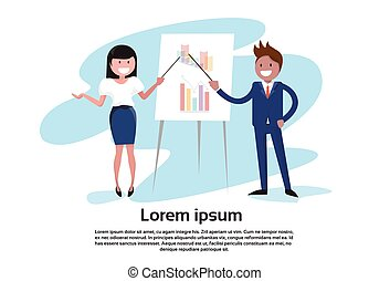 Business People Man Woman Meeting Seminar Training Conference Presentation Financial Chart