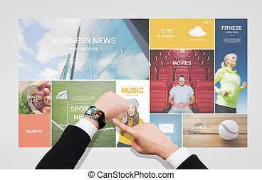 businessman pointing to smart watch at his hand - business, ...