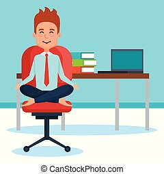 business people meditation lifestyle in workplace