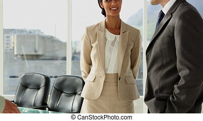 Business people meeting and greeting in office with large window