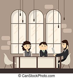 Business People Meeting Discussing Office Desk Businesspeople Working