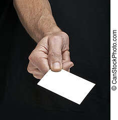 business people meeting for the first time, giving a card
