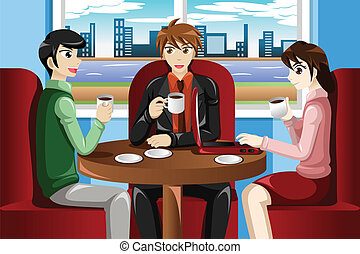 Business people meeting in the cafe