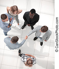 Business people meeting in the office top view