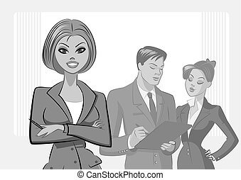 Business people meeting. Isolated on a white background