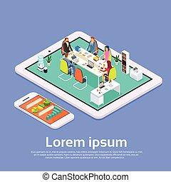 Business People Meeting Office Desk Businesspeople Working Online